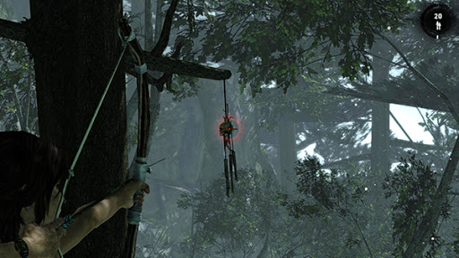 Lara about to shoot a totem, one of the few challenges in this game